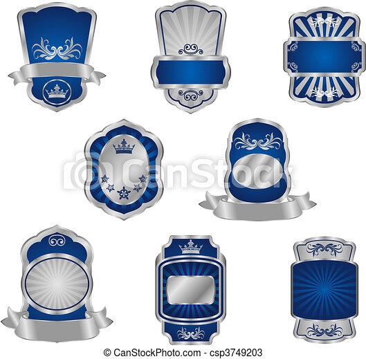 Set of vintage silver labels - csp3749203