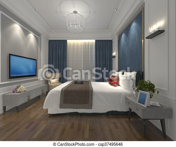 Drawing of 3d illustration bedroom interior of a modern for 3d bedroom drawing
