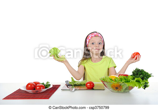 little girl with fresh vegetables. - csp3750799
