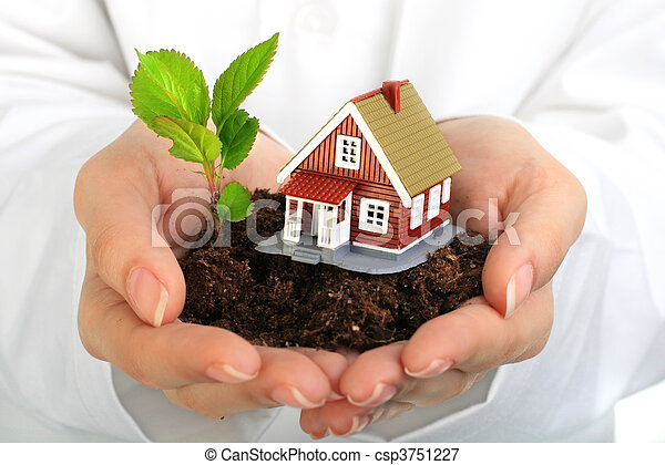 Small house and plant in hands. - csp3751227