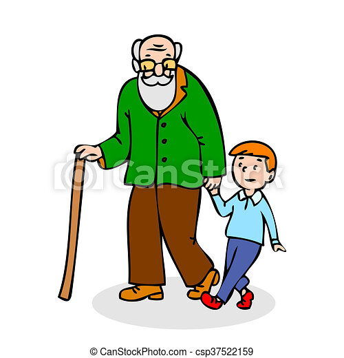 Stock Illustrations of Grandfather with grandson. Funny old man ...