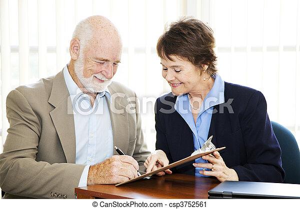 Senior Businessman Signature - csp3752561