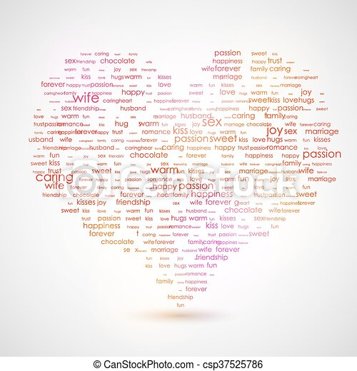 Heart shape from letters - typographic composition. The best list of words, that describes LOVE - csp37525786