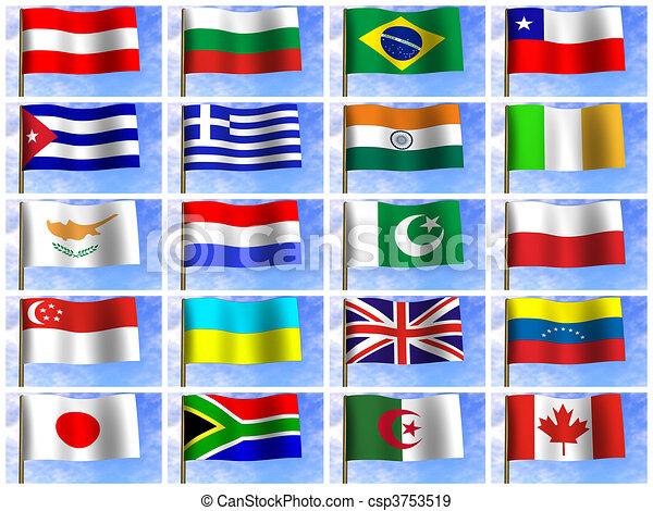 Stock de Ilustraciones de collage, banderas, diferente, Países ...