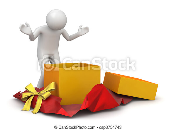 Lifestyle collection - Unwrapping present - csp3754743