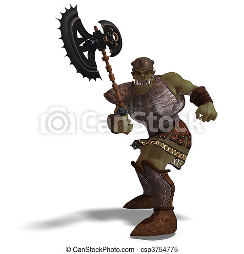 Male Fantasy Orc Barbarian with Giant Axe. 3D rendering and shadow over white - csp3754775