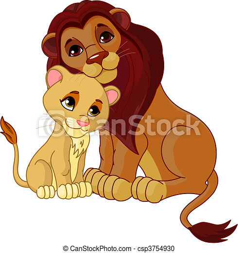 Lion and cub together - csp3754930