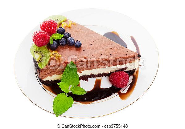 Chocolate cheese cake - csp3755148