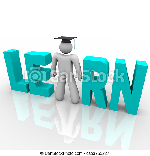 Learn - Man in Word with Graduation Cap - csp3755227
