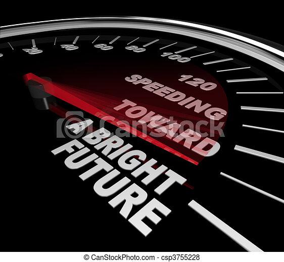 Speeding Toward a Bright Future - Speedometer - csp3755228