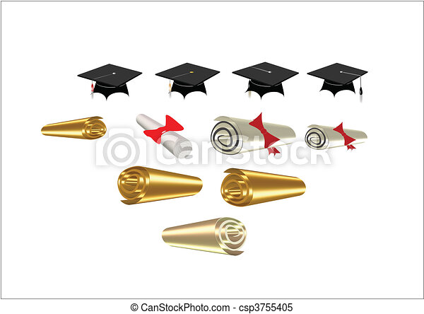 diplomas and mortar boards on white - csp3755405