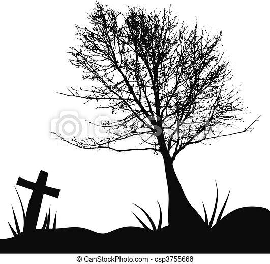 arbre, Pierre tombale, Cimetière - csp3755668