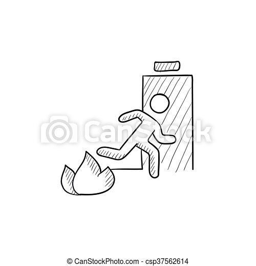 Vector Clip Art of Emergency fire exit door sketch icon ...