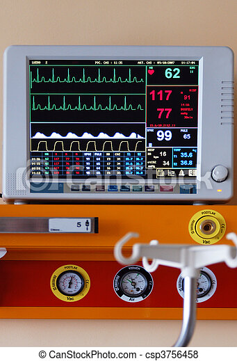 Diagnostic instrument displaying pulse, blood-pressure and other informations - csp3756458