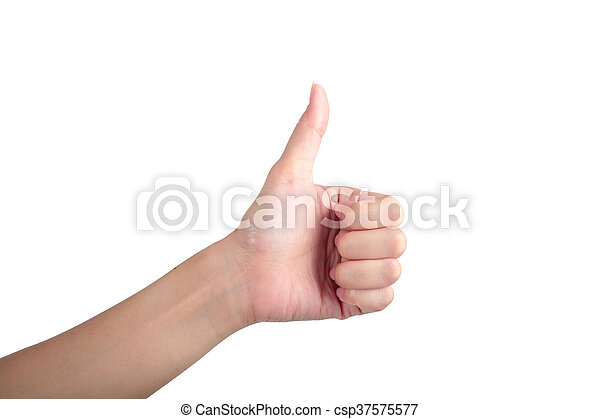 Young man his hand like thumb up isolated white background. - csp37575577