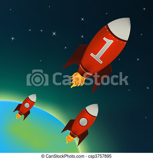 Red Rockets flying in outer space  - csp3757895