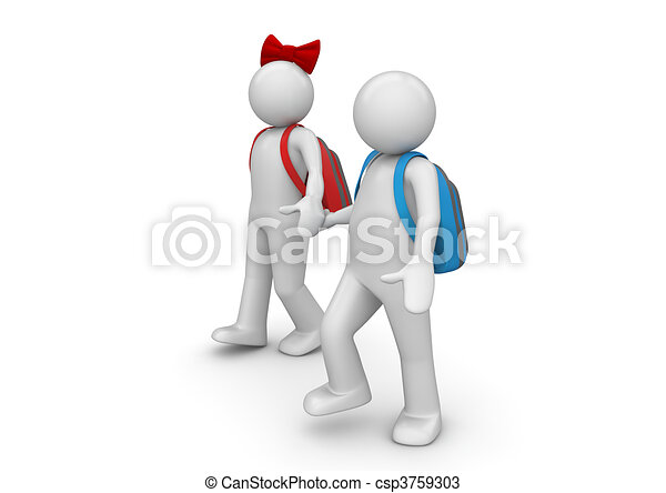 Lifestyle collection - Boy and girl going to school - csp3759303