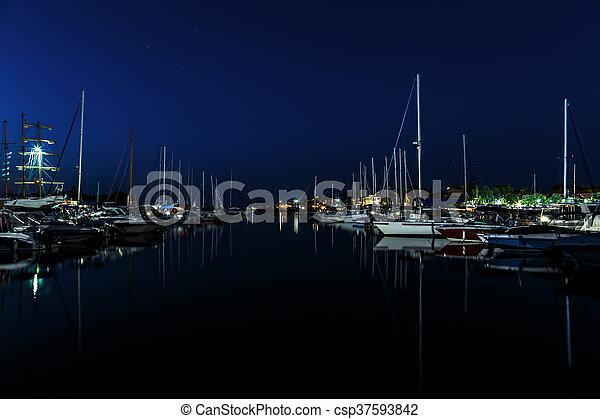 Night sea yacht dock port