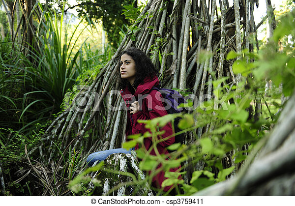ecotourism: female  hiker exploring wilderness of rainforest - csp3759411