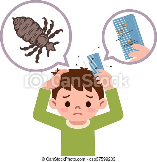 Vector - Boy comb the hair with a comb for lice - stock illustration ...