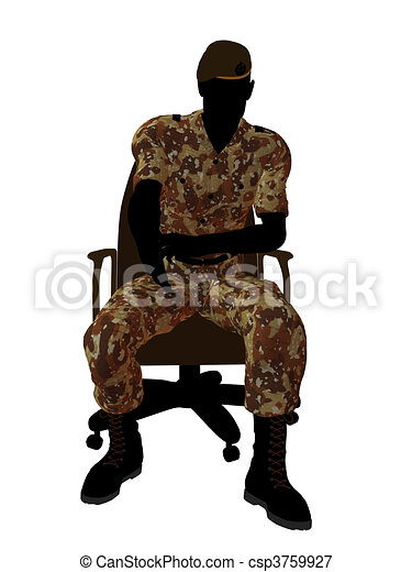 Male Soldier Sitting In A Chair Illustration Silhouette - csp3759927