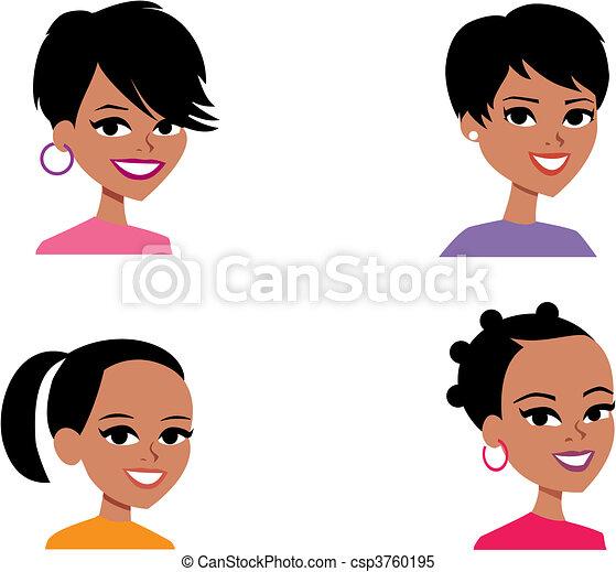 Cartoon Avatar Portrait Illustration Women - csp3760195