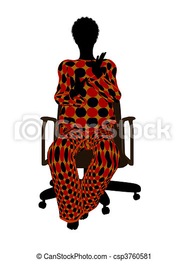 African American Woman Pajama Silhouette - csp3760581