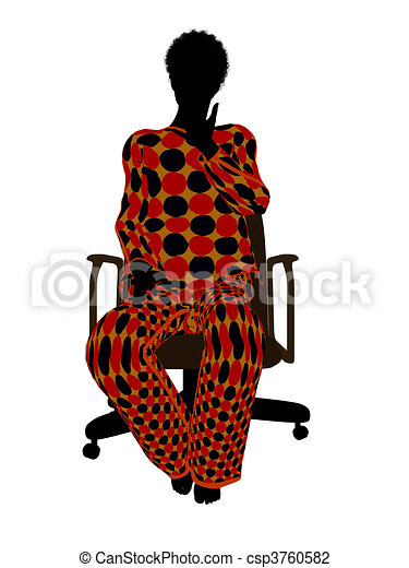 African American Woman Pajama Silhouette - csp3760582