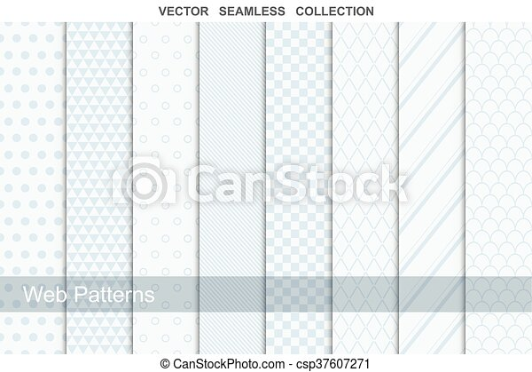 Geometric seamless patterns in soft colors. - csp37607271