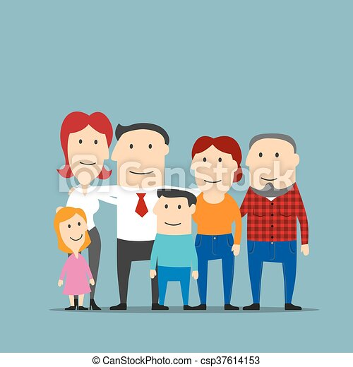 Happy multigenerational family cartoon portrait - csp37614153
