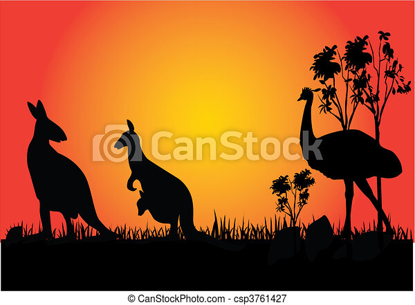 kangaroo and emu - csp3761427
