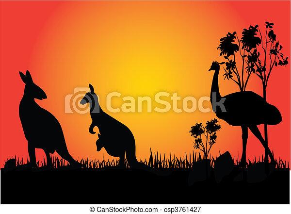 kangaroo and emu - csp3761427