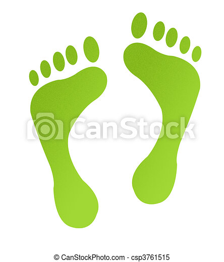 Green carbon footprints on sand - csp3761515