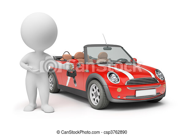 3d small people - car keys - csp3762890