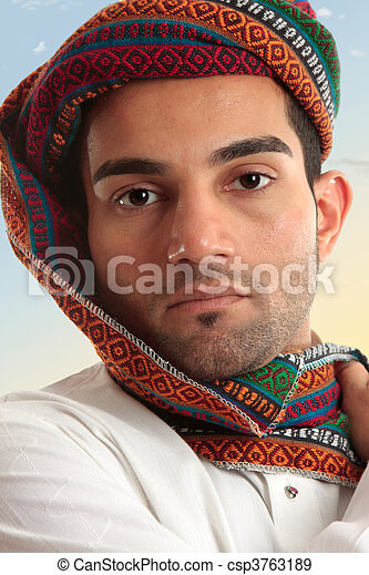 arabe, homme, Porter, turban - csp3763189