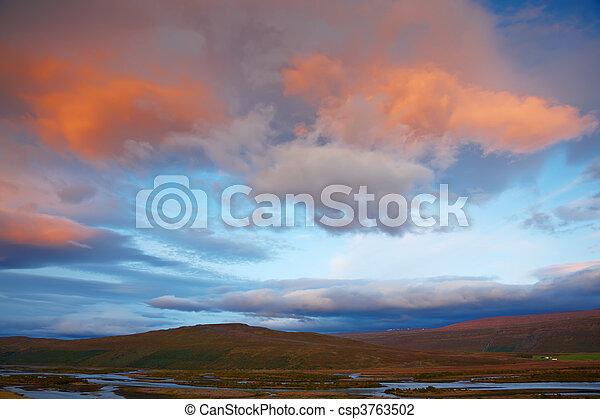 Sunrise in Skjafandafljot River, Iceland - csp3763502
