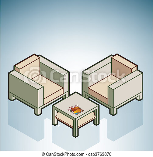 Vector clipart of chairs coffee table part of the for Table 3d dessin