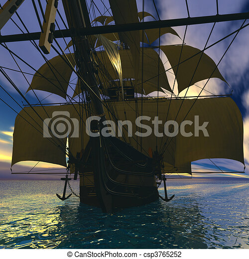 Sailing vessel in the sea - csp3765252