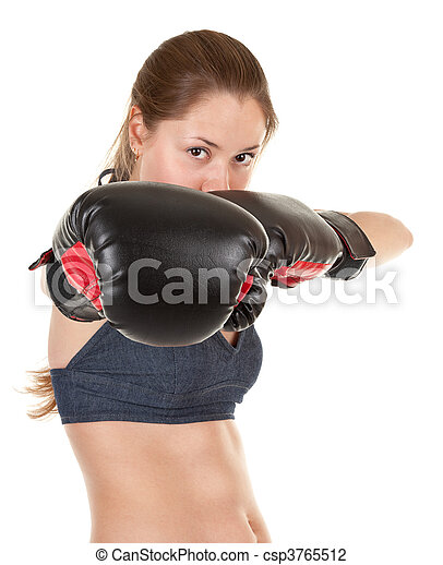 sports girl with boxing gloves - csp3765512