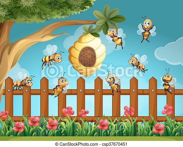 Clipart vector van bijenkorf vliegen ongeveer tuin for Vliegen in de tuin