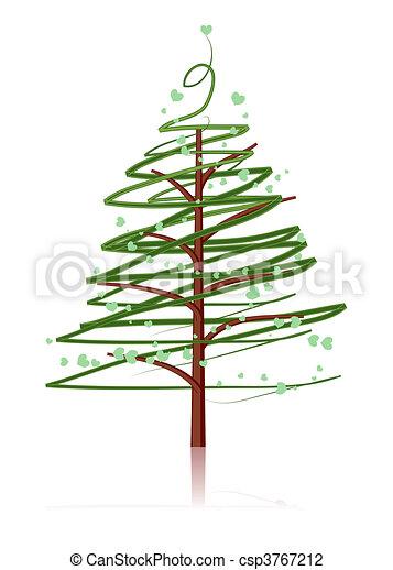Pine tree isolated on white - csp3767212