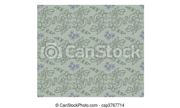 Green and purple floral wallpaper - csp3767714