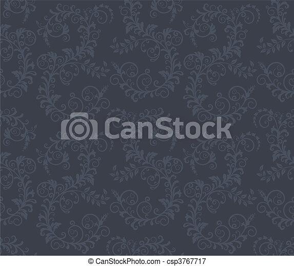 Seamless dark grey floral pattern - csp3767717