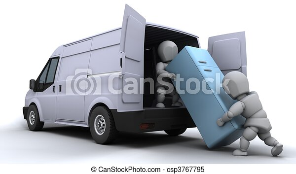 removal men loading a van - csp3767795