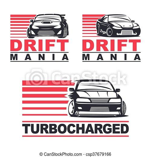Clip Art Vector Of Drift Car Set Of Four Sport Cars Logo