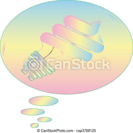 Light Bulb pastel in thought bubble - csp3768125
