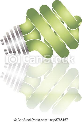 Energy saving lightbulb reflected  - csp3768167