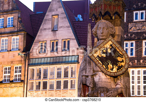 Roland Statue in Bremen, Germany. World Heritage Site. - csp3768210