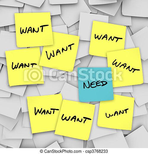 Wants Vs Needs - Sticky Notes - csp3768233