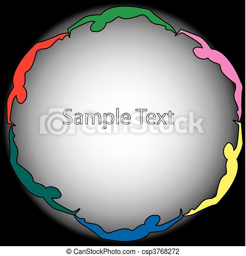 swimming silhouettes in a circle  - csp3768272